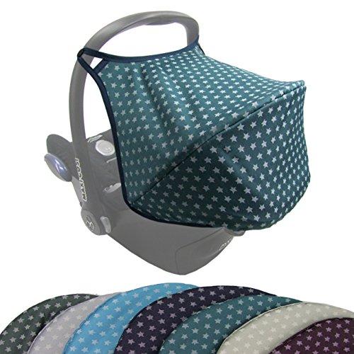 BAMBINIWELT Sonnenverdeck UV50+ für Maxi-Cosi Cabriofix, Sonnendach Babyschale, Autositz STERNE (olive Sterne) XX