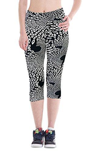 DaDa Deal Women's Printed Active Workout Capri Pants Yoga Leggings Tights(XL,Black)