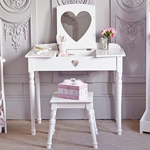 Amor tocador de madera blanca, muebles de dormitorio taburete con un espejo ajustable con un cajón de la cómoda para el espejo en forma de corazón cómoda niñas dormitorio,White