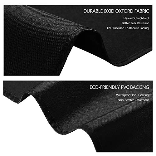 Dokon Table Tennis Table Cover, Waterproof, Windproof, Anti-UV, Heavy Duty Rip Proof 600D Oxford Fabric Ping Pong Table Cover, Indoor / Outdoor (165×70×185cm) - Black