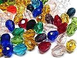 50 perlas de cristal checo, multicolor, 8 mm x 6 mm, forma de gota, perlas de cristal talladas
