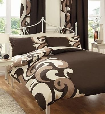 WOT Grandeur Reversible Printed Duvet Cover & Pillow Case Bedding Linen Quilt Set (Chocolate, King)