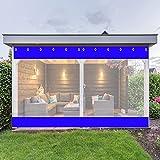 AWSAD Lona Impermeable Transparente Exterior Cortinas de Gazebo PVC 0,5mm Cortinas para Pérgola con Ojales de 0,12 mm for Exterior,Jardín,Pérgola,Terraza (Color : Blue, Size : 1X0.8m)