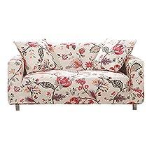 Hotniu Funda Sofa Elasticas 2 Plazas Fundas de Sofa Ajustables Fundas Decorativa para Sofá Estampadas Impresa Cubre Sofa con 1 Funda de Cojín, Modelo #Qan