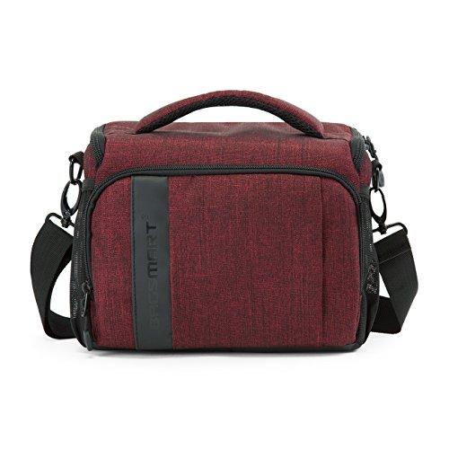 BAGSMART Custodia per Macchine Fotografiche Reflex Borsa a Tracolla per Fotocamera Borsa Fotografica Rosso