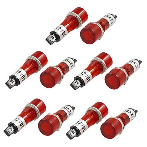 sourcing map Lot de 10 Ampoules 12v pour DC 2 Broches Rouge versenkte Voyant Lumineux de Signal