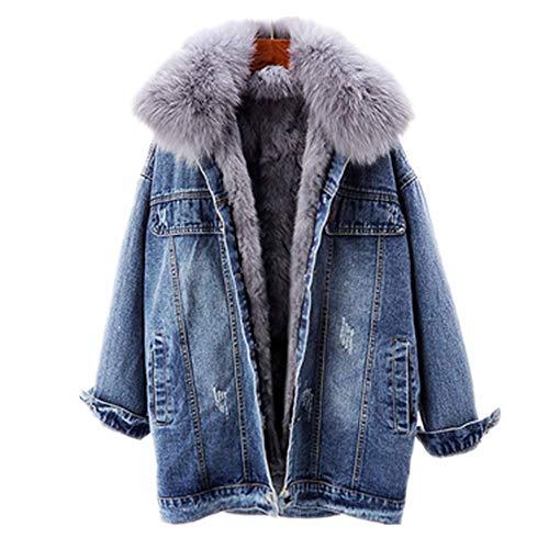 NP Invierno Denim Chaqueta Mujeres Conejo Piel Liner Jeans Chaqueta Fox Fur...