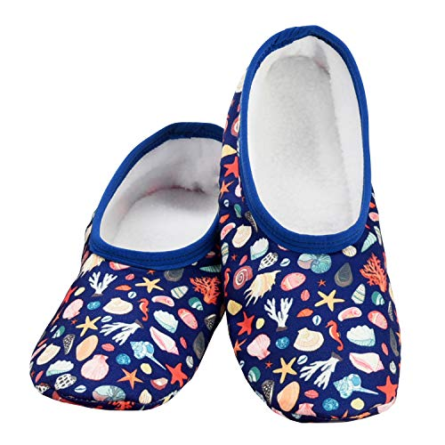 Snoozies Skinnies Lightweight Slippers | Cozy Slippers for Women | Travel Flats On The Go | Womens Slippers | Shells | Large