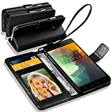 N+ INDIA Rich Leather Stand Wallet Flip Case Cover Book Pouch Phone Bag Antique Leather for Asus Zenfone 3 ZE520KL Black