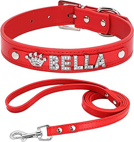 Berry Collares de perro de piel sintética suave personalizados con diamantes de imitación de cristal, letras y abalorios, ajustables para perros pequeños y medianos, negro, S (10.5-13 pulgadas)