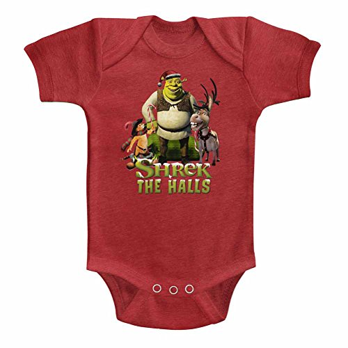 Shrek Unisex-Baby Holiday Group Onesie, Size: 6M, Color: Vintage Red