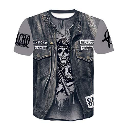 Camiseta Unisex con Estampado de Calavera en 3D, Camisetas de Manga Corta Informales Personalizadas de Verano, Camisetas de Gran tamaño Negro M