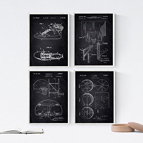 Nacnic Negro - Pack de 4 láminas con Patentes de Baloncesto 2. Set de Posters con inventos y Patentes Antiguas. Elije el Color Que más te guste. Impreso en Papel de 250 Gramos