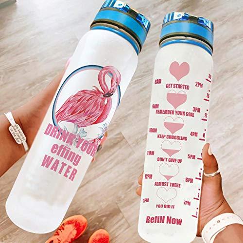 Bestwe Flamingo - Botella de agua de Tritan con marcador de tiempo, ligera, deportiva, para deporte, fitness, exterior, senderismo, color blanco, 1000 ml