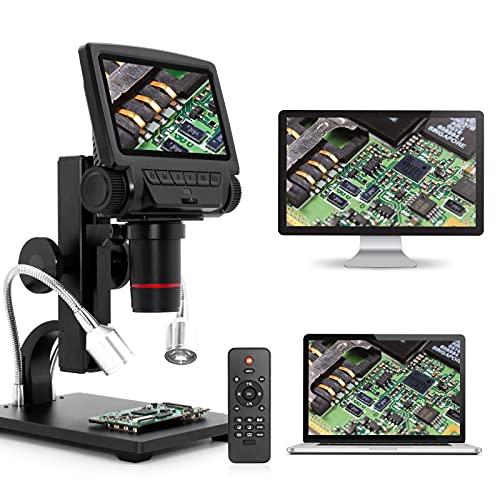 Linkmicro - Microscopio digitale HDMI USB, ingrandimento 260X con schermo da 5 pollici 1080p, software di misura PC per riparazione elettronica e strumenti di saldatura di circuiti