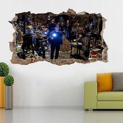Harry Potter Poster Sticker mural 3D façon « trou dans le mur » pour Chambre d'enfant, Large (90x52cm)