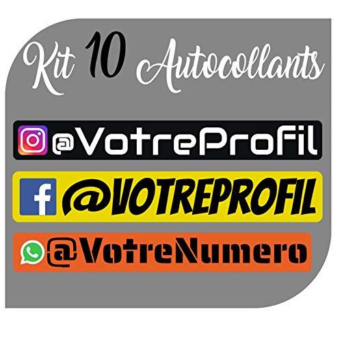 CrisPhy Kit x10 Autocollants en Vinyle avec Profil Instagram, Facebook, Whatsapp - Vélo, Casque, Pelle à Roue, Planches à roulettes, Voiture, Moto, etc. Kit de 10 Vinyle (Font Pack 1)