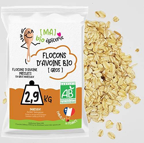 [Ma] bio-épicerie | Flocons d'avoine – gros BIO | 2,8 Kg | Sachet vrac | Certifié biologique | Riche en fibres et source de protéines
