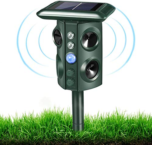 Ultrasonic Animal Repeller, Solar Powered Outdoor Animal Repeller, Motion Activated with USB Charge, Effective for Dogs, Cats, Raccoons, Skunks, Squirrels and More