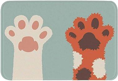 WEIANG Cute Cat Claw Doormat Floor Mat Thick Anti Slip Flannel Sponge Absorbent Indoor Door Mat 45x75cm (04,45x75)