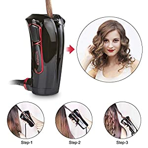 iGutech Rizador de pelo automático con cerámica Turmalina, calentador y monitor LED (Negro)