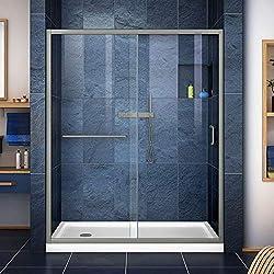 DreamLine DL-6973L-04CL Infinity-Z Frameless Sliding Shower Door and SlimLine 36-Inch by 60-Inch Single Threshold