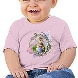 BJGXFMQ Easter T-Shirt Bambino,Uova di Pasqua,Coniglietto Pasquale Bambini Ragazzi e Ragazze Unisex Manica Corta T-Shirt,100% Cotone
