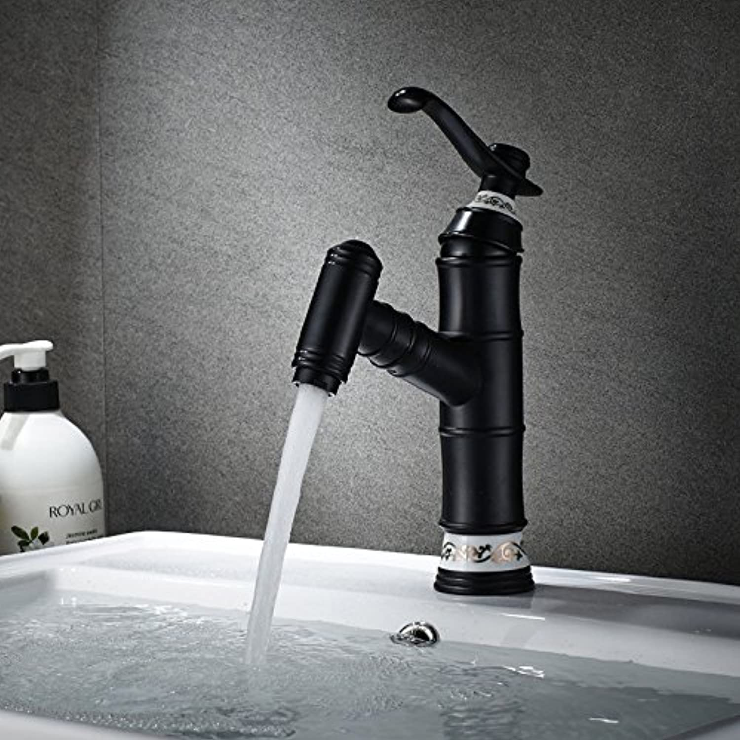Lalaky Taps Faucet Kitchen Mixer Sink Waterfall Bathroom Mixer Basin Mixer Tap for Kitchen Bathroom and Washroom Pull-Out Copper Hot and Cold Retractable Black