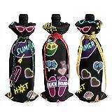 Sacs fourre-tout de bouteille de vin de Noël au néon - 3pcs sacs de vin rouge cadeau pour décor de table de cuisine d'hôtel de fête