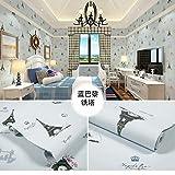 LZYMLA - Papel pintado autoadhesivo de PVC, para dormitorio, sala de estar, habitación de los niños, decoración de gabinete, impermeable, fondo de pared, diseño de torre de París azul, 60 cm x 10 m