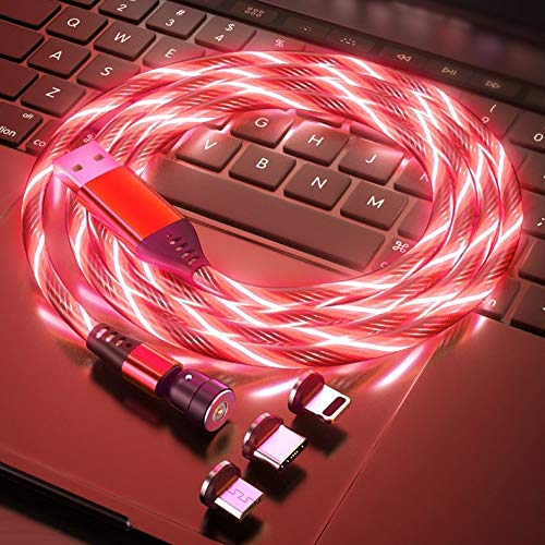 Shining Magnetic Charger Cable Charging for Micro USB Android Type C Phone Pad Tablet Xbox Devices.Shining 360° Round Max 2.4A Fast with Flash LED Indicator (red- Type C) -  TAiKOOL, 5962940778