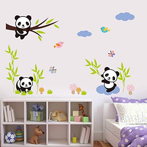 HYXLN 3D Grande Creativamente Panda En La Rama de Árbol de Bambú Flor de Mariposa Pájaro Bluesky Vinilo Diy Arte Mural Etiqueta de La Pared Kid decoración para el hogar