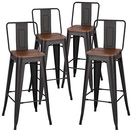 INMOZATA Bar Stools Set of 4, kitchen Breakfast Counter Stool Bistro Stool Bar High Chair Metal legs Wooden Seat