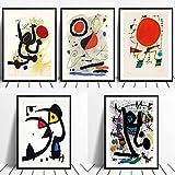 ZHJJD Joan Miro Surrealism Art Posters and Prints Pintura de Lienzo Famosa Moderna Cuadros de Joan Miro Obra de Arte Abstracta Decoracion de la Pared del hogar 20x30cmx5 Sin Marco