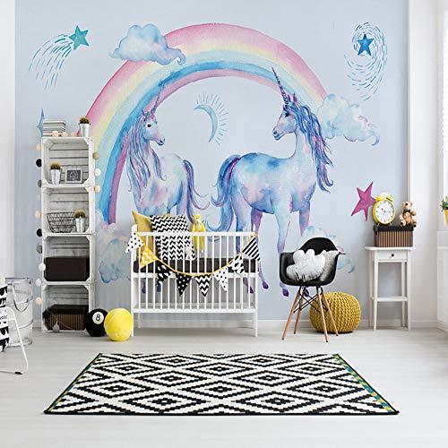 Fototapete 3D Effekt Tapete Regenbogen-Einhorn-Pegasus Vliestapete 3D Wallpaper Moderne Wanddeko...