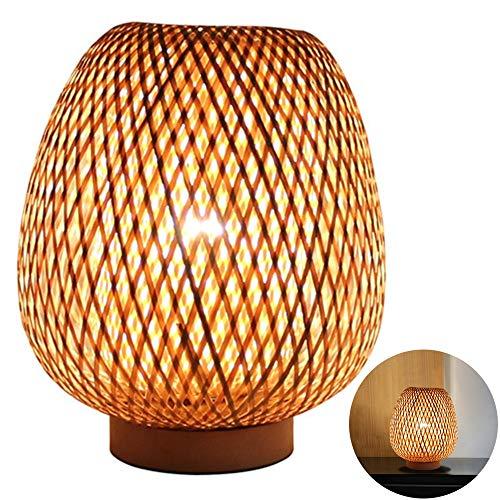 HWJF Lampe de Table de Style rétro, Abat-Jour en Bambou, Lampe de Chambre à Coucher Salon Bureau Lampe de Chevet Salon de thé Lampe à Manger en Bambou, E27