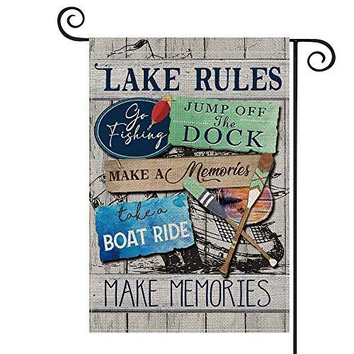 Lake Rules - Bandera de madera para jardín vertical de doble tamaño, salto del muelle, relajación, barco, canoa, patio, decoración al aire libre, 30 x 45 cm