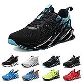 Zapatillas Running Hombre Deportivas Mujer Sneakers Casual para Correr Gimnasio Tenis Fitness Comodos Deportivos Calzado Ligero Transpirable Bambas Negro Blanco G33BlackBlue38