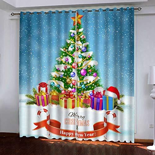 Beydodo Cortinas Poliester Exterior Cortinas Salon Opacas 2 Piezas Árbol de Navidad y Regalos Azul Blanco Verde Cortina Ventana214x183CM