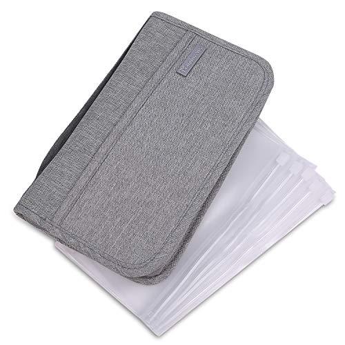 Plaisiureux 通帳ケース パスポートケース マルチケース カード入れ 旅行用品 (シルバー)