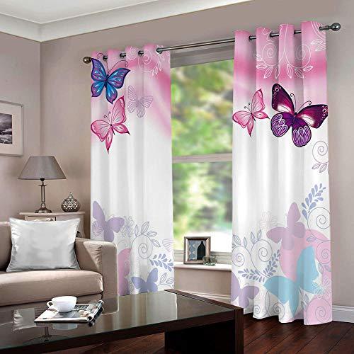 YLWMBB Vorhang Blickdicht mit Ösen 3D Rosa Schmetterling Verdunkelungsvorhang 2er Set Gardine Polyester für Schlafzimmer Kinderzimmer Wohnzimmer Dekoration 140x160cm