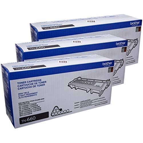 Brother Genuine TN660 High Yield Black Toner Cartridge / 3-Toner Cartridges