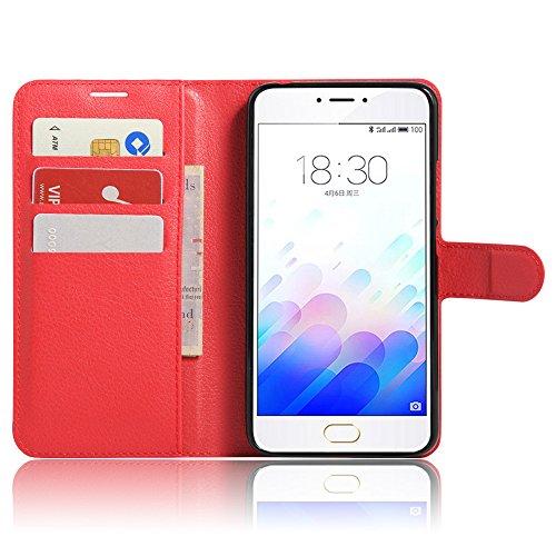 MINGYOUNG Custodia per Meizu Meilan note3 / M3 Note Pelle Portafoglio Libro Wallet Case Magnetica Supporto di Stand Cover per Meizu Meilan note3 / M3 Note (Rosso)