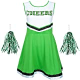 Redstar Fancy Dress - Costume Halloween da Donna - Cheerleader con Pompon - dalla EU 34 alla EU 44 - 6 Colori - Verde - S