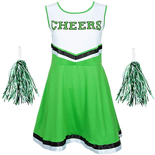 Redstar Fancy Dress - Disfraz de Animadora con Pompones - para Mujer - 6 Colores y Tallas 34 a 44 - Verde - S