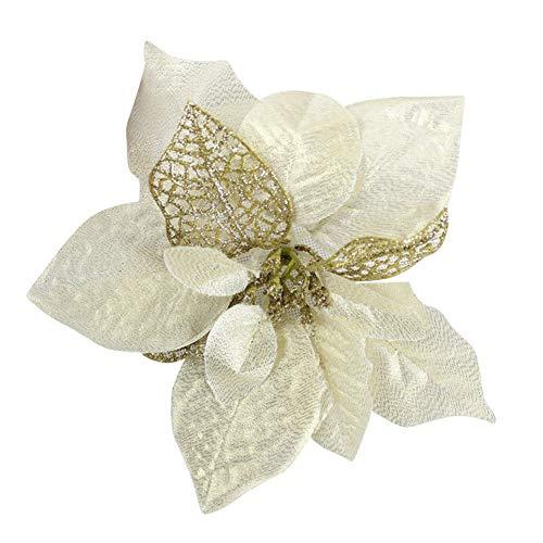 Haodou Weihnachtsblume Kunststoff Weihnachten Deko Weihnachtsbaumdeko Weihnachtsbaumschmuck Weihnachts-Anhänger für Wohnzimmer Büro 20cm (Gold)