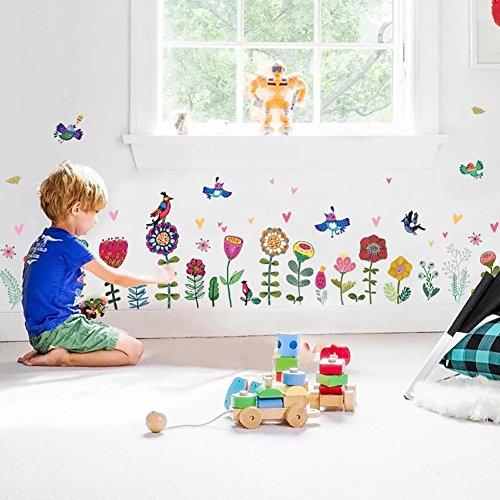 Muursticker 4U - Muurtattoo kinderkamer kleurrijke bloemen I Muurschilderingen 193x95 cm I zelfklevende muursticker voor meisjes I raamsticker kinderen bloemen rand planten weide vogel