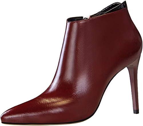 GTVERNH chaussures da femmes Estate La Moda Conciso Tacco Altezza Di 10Cm bottes Appuntito Sexy Night Club Slim Zip Pedicure Nude E bottes