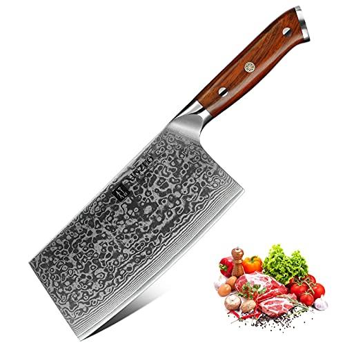 XINZUO Cuchillo Asiático Acero de Damasco, 18cm Cuchillo de Cocina Chino,Profesional Cuchillo de Carnicero,Afilado Hachas de Cocina Cuchillo para Verduras,con Rosewood Mango - Yu Serie