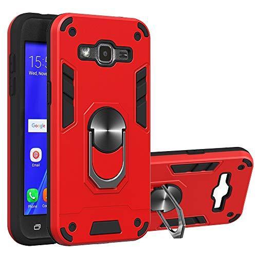 WANGZHEXIA Estuches para teléfono para Galaxy para Samsung Galaxy J2 2 en 1 Series PC + Funda Protectora de TPU con Soporte para Anillo